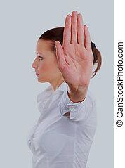 femme, arrêt, isolé, signe, arrière-plan., signaler, colère, blanc