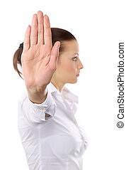 femme, arrêt, isolé, signe, signaler, fond, colère, blanc