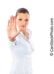 femme, arrêt, signe, signaler, colère