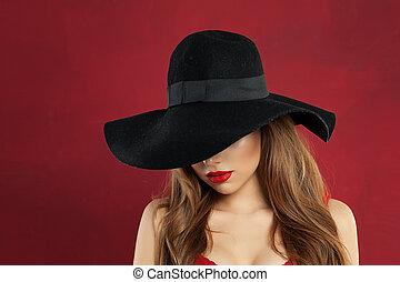 femme, arrière-plan noir, sexy, modèle, chapeau, rouges