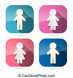femme, arrondi, icônes, symboles, carrés, homme