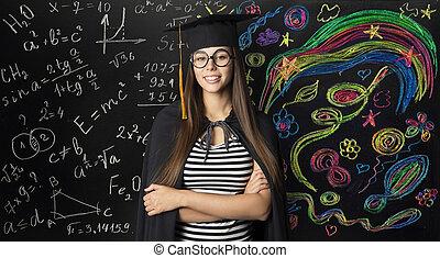 femme, art, étudiant, jeune, remise de diplomes, créatif, chapeau, apprentissage, mathématiques, mortarboard