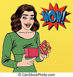 femme, art, banner., gift., pop, present., vecteur, illustration, excité