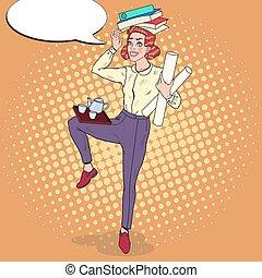 femme, art, bureau, business, work., illustration, surcharge, secretary., vecteur, pop, multitâche