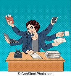 femme, art, business, banner., choses, mains, pop, lot, beaucoup, superwoman