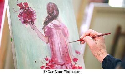 femme, art, canevas., peintures, ou, académie, peinture,...