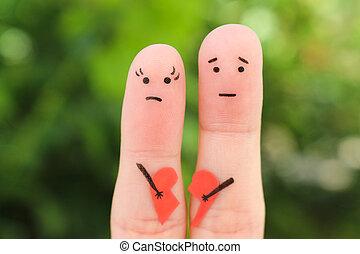 femme, art, couple., doigts, cassé, tenue, heart., triste, homme