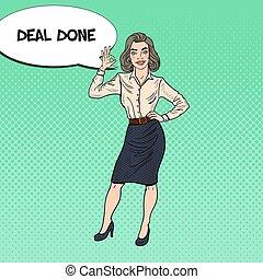 femme, art, illustration affaires, vecteur, pop, heureux, faire gestes, ok.