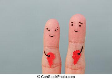 femme, art, joie, après, divorce., couple., doigts, cassé, concept, tenue, heart., heureux, homme