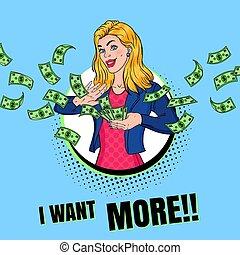 femme, art, lancement, dollar, argent., illustration, billets banque., réussi, financier, vecteur, pop, riche, poster., blond, girl, publicité
