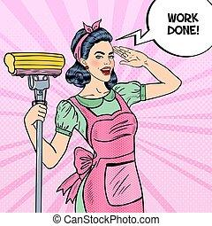 femme, art, maison, lavette, jeune, femme foyer, confiant, pop, nettoyage