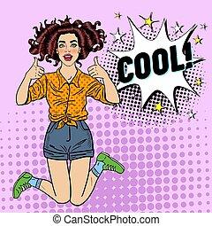 femme, art, pouce, épingle, banner., vendange, signe., haut, illustration, joyeux, vecteur, pop, joli, affiche, poster., adolescent, publicité, girl, sauter