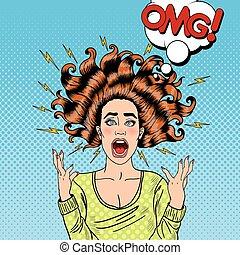 femme, art, voler, pop, cheveux, furieux, agressif, crier