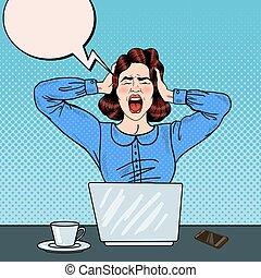 femme, art, work., bureau, crier, fâché, pop, vecteur, frustré