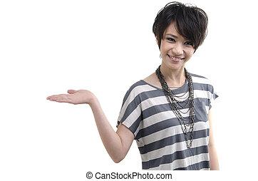 femme asiatique, blanc, fond