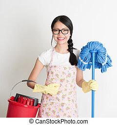 femme, asiatique, chinois, ménage