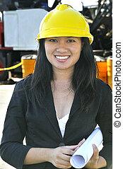 femme asiatique, ingénieur travaux publics