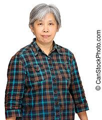 femme, asiatique, mûrir