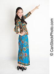 femme, asiatique, pointage