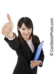 femme, asiatique, pouce, business, haut