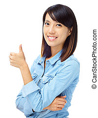 femme, asiatique, pouce, main haut