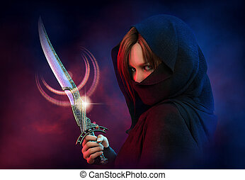 femme, assassin, cg, 3d
