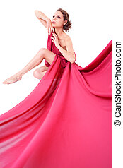 femme, assis, robe rouge, beau