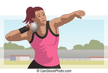 femme, athlète, mettre, coup, fond