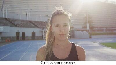 femme, athlète, sourire, caucasien, appareil photo