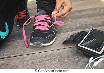 femme, attachement, téléphone, courant, musique, chaussure, écoute, intelligent, dentelles