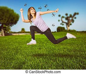 femme, attaque, jeûne, moustiques, defends, courant, elle-même