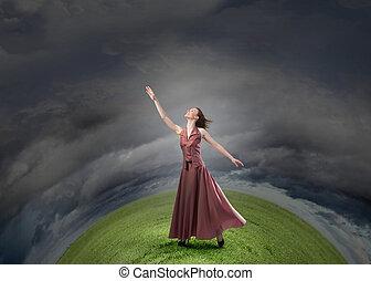 femme, atteindre, main