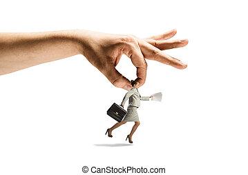 femme, attraper, main