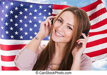 femme, audiobook, écoute, langue, anglaise
