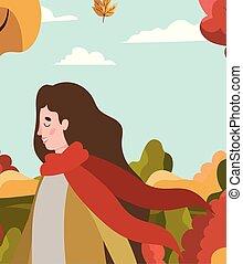 femme, automne, marche, parc, complet