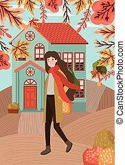 femme, automne, marche, ville, complet