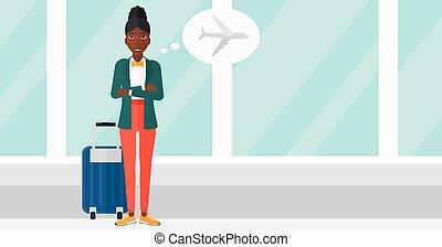 femme, avenir, effrayé, flight.