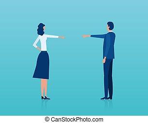femme, avoir, argument, blâmer, vecteur, autre, homme