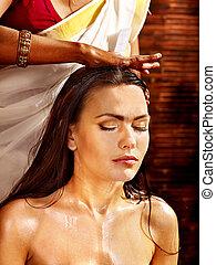 femme, avoir, ayurveda, spa, treatment.
