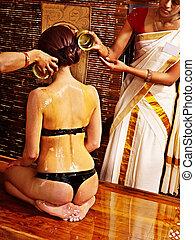 femme, avoir, ayurvedic, spa, treatment.