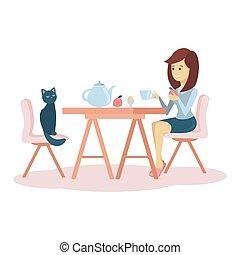 femme, avoir, breakfast.