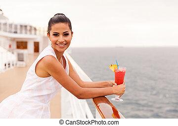femme, avoir, jeune, cocktail, croisière