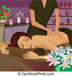 femme, avoir, masage