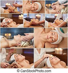 femme, avoir, massage facial, dans, spa, salon