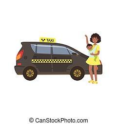 femme bébé, appeler, noir, taxi, voiture