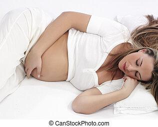 femme, b, mensonge, pregnant