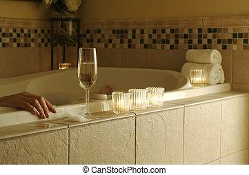 femme, bain