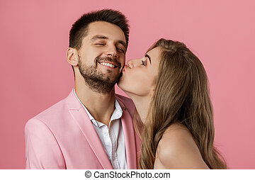 femme, baisers, boyfriend., elle