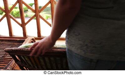 femme, balcon, jeune, séance