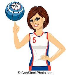 femme, balle, elle, jeune, rotation, basket-ball, doigt